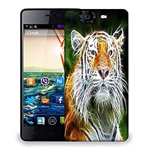 Snoogg Abstract Neon Tiger Designer Protective Phone Back Case Cover For Micromax Canvas Knight A350