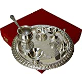 JaipurCrafts Decorative Elegant Brass Pooja & Thali Set(7 Pieces, Silver)