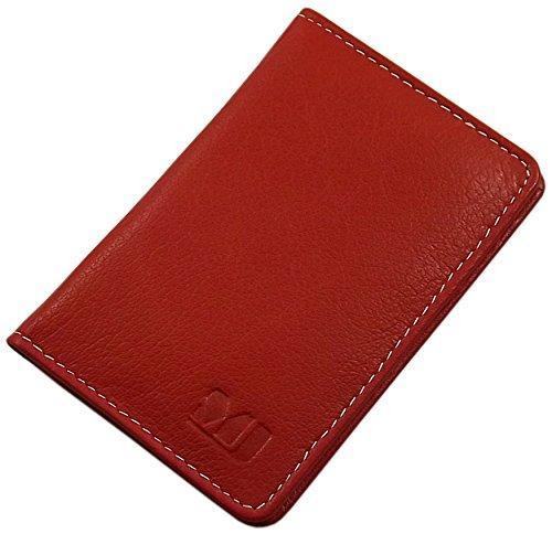 Cuir de buffle porte cartes de crédit MJ-Design-Germany en 3 différentes couleurs (Rouge)