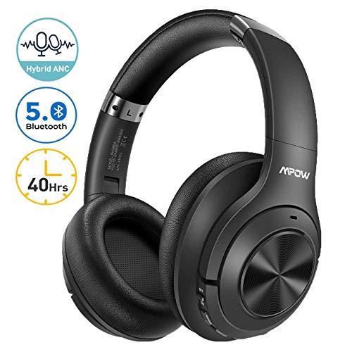 Mpow Kopfhörer Active Cancellation Hybrid Noise, Bluetooth 5.0-Kopfhörer, 40-Stunden-Autonomie, CVC 6.0 und Mikrofon, Kopfhörer mit aktiver Geräuschunterdrückung für Reisen/Mobiltelefone/PC/TV