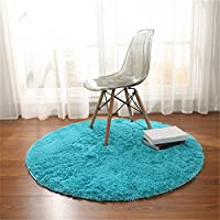 Alfombras, CAMAL Redonda Material de Lana de Seda Artificial Alfombras de Yoga para Sala de Estar Dormitorio y Baño (Azul, 100cm)