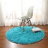 Teppich, CAMAL Runde Seide Wolle Material Yoga Teppich für Wohnzimmer Schlafzimmer und Bad (Blau, 120cm)