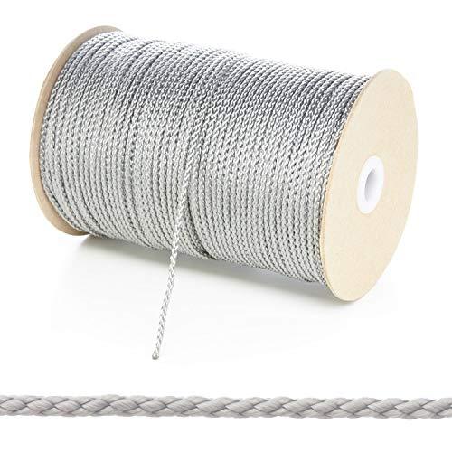Kalsi Cords 3 mm dünne runde Polypropylenseil geflochtene Polyschnur Starke Schnur 8 Farben & 5 Längen Größen, Grau/silberfarben, 5 Metre Cut Length - Grau Cord
