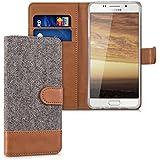 kwmobile Étui portefeuille en cuir synthétique pour Samsung Galaxy A5 (2016) - étui avec compartiment pour carte de visite et carte de crédit avec fonction support pratique en gris foncé marron