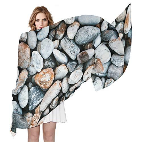 LORONA Damen Schal mit Kieselsteinen und Steinen, durchsichtig, langes, seidiges Gefühl, leicht -