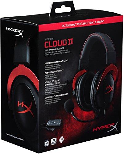 Kingston HyperX Cloud II Gaming Kopfhörer (für PC/PS4/Mac) rot