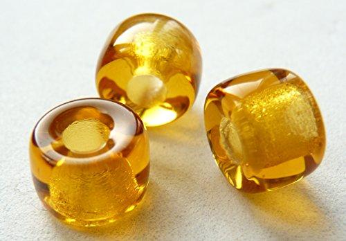 G002 tschechische ringförmige Abstandshalter-Glasperlen, 9mm, großes Loch, bernsteinfarben, 20 Stück