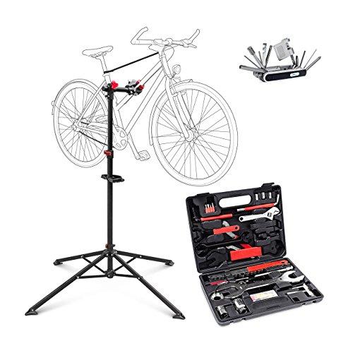 3 teiliges Fahrrad Bastel Set, Fahrradmontageständer höhenverstellbar, Multifunktionswerkzeug Multitool, Werkzeugkoffer 37 Teile