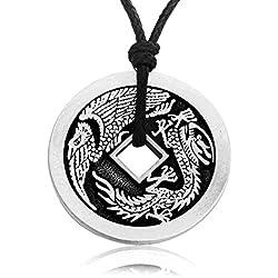 Joyería Llords | Collar con colgante Moneda Dragón Chino, cierre bañado en plata, Joyas de Peltre de la Mejor Calidad
