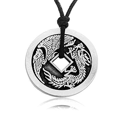 Joaillier Llords | Dragon de la chance, Pièce de monnaie chinoise, Collier à pendentif, fermoir plaqué argent, bijou en pur étain