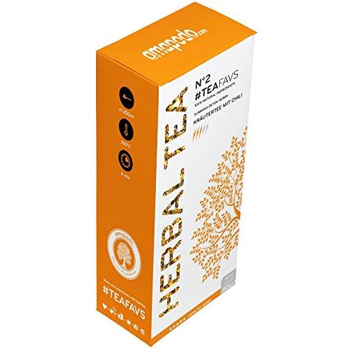 amapodo thé aux herbes - mélange 100% naturel d'herbes, thé vert, feuilles de menthe poivrée, trèfle rouge, racine de réglisse, fenouil, fleur de camomille, gingembre, gingembre, gingembre, chili, fleur de bleuet, fleur de souci, écorce d'oranger - Made in Germany - Detox Body Fit Tea Treatment - végétalien