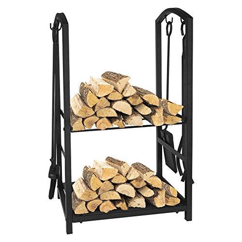 Rack per legna da ardere, set di strumenti per caminetti a 4 pezzi, portacenere per esterni per esternirack per legna da ardere, set di strumenti per caminetti a 4 pezzi