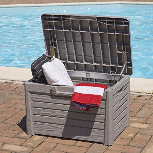 KREHER Sitztruhe, Kissenbox 'Florida' in Hellgrau. Mit 120 Liter Nutzvolumen und abschließbarem Deckel mit Gasdruck-Federn. Maße 73 x 50,5 x 46,5 cm