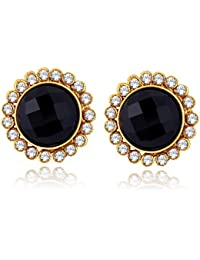 Spargz Gold Plated Black AD Stone Modern Circular Studs Earring For Women ALER 5096