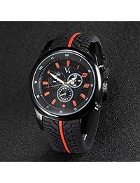 Relojes Hermosos, De los hombres v6 correa de caucho de diseño de carreras f1 cuarzo reloj ocasional ( Color : Naranja )
