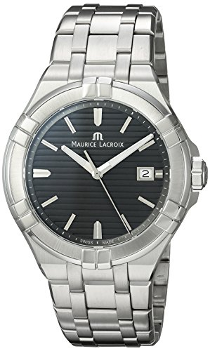 Maurice Lacroix Mens Analog Swiss-Quartz Watch with Stainless-Steel Strap AI1008-SS002-332-1