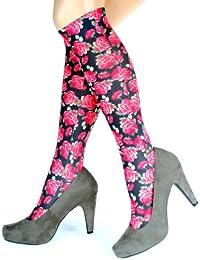 Hotlook Rose Power Kniestrümpfe Blumen Rosen blümchen rot schwarz bedruckt von Hotlook