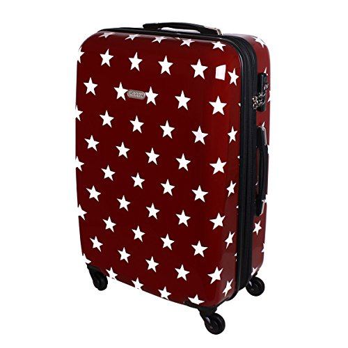 3f3b823f7 Karry Maleta De Cáscara Dura Viaje Maleta con ruedas TSA Rojo Estrellas 820  - Rojo,