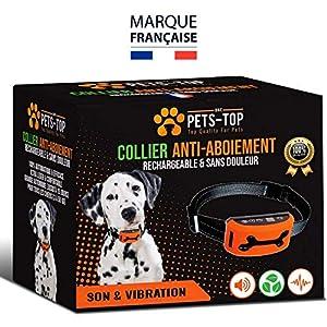 [NOUVEAUTÉ 2017] Collier Anti Aboiement Rechargeable Eco PETS-TOP Son & Vibration - Réglage 7 Niveaux - Manuel en Français - Garantie Sans Douleur