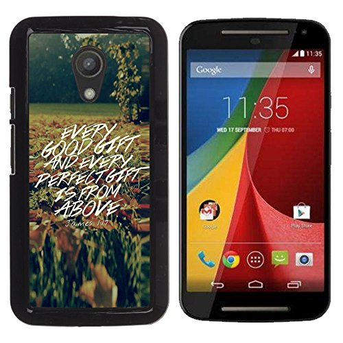 e Bild Hart Handy SchutzHülle Hülle Schale Case Cover Etui für MOTOROLA MOTO G ( 2ND GEN ) - JONES 1:17 EVERY GOOD GIFT IS FROM ABOVE ()