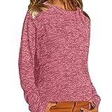 UFACE Mode Damen Frauen Rundhals Lange Hülsen Spleiß Blusen Oberseiten Kleidung T-Shirt Tops Pullover Casual Ananas Anthrazit Motto Geringeltes Weißem Dament Schwarzen
