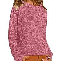 Camisas Mujer Jersey Casual Colorblock para Mujer Cuello Redondo de Manga Larga Camisas de Punto Jumper Pullover Tops para Mujer del Blusa Viento Invierno señoras Abrigos para Mujer Tefamore