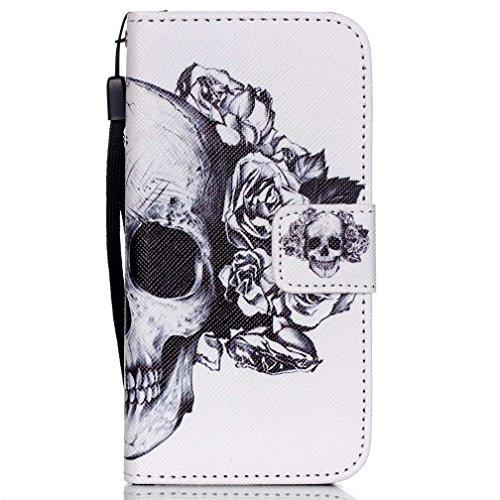 KATUMO® Handyhülle für iPhone 5, [Flip Book Case] PU Leder Wallet Case Handytasche Schutzhülle für Apple iPhone 5/5S Lederhülle Etui Schale mit Standfunktion Function,Roter Sonnenuntergang Schädel Rose