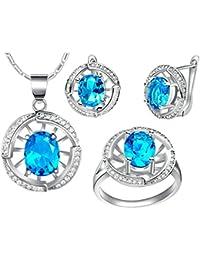 AnaZoz Joyería de Moda Simple Personalidad Chapado en Platino Juegos de Joyas Para Mujer (Collar Pendiente Anillo Juegos de Joyas) Redondo Turquesa Azul Cristal