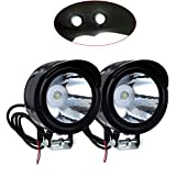 2PCS LED Lampe Moto Motocycle 3W 12V-80V Anti-brouillard étanche Noir