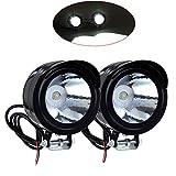 Lot de 2PCS LED Lampe Phare Avant Moto Motocycle 3W 12V-80V Anti-brouillard étanche Noir