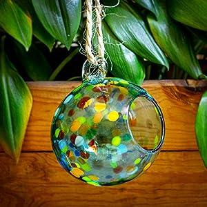 Glasmanufaktur Mitienda, Terrarium Deko Vase Esfera Confetti Bunt Zum Aufhängen, 15cm, Mundgeblasene Fensterdeko Aus Mexiko