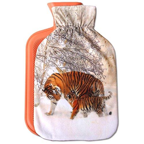 Wärmflasche mit Motiv 2 Liter, Wärmekissen mit abnehmbaren Flauschigen Bezug in vielen Variationen (Auswahl: Tiger braun)