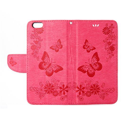 Housse iPhone SE, SpiritSun iPhone 5S Etui en PU Cuir Portefeuille Coque pour Apple iPhone SE / 5 / 5S Mode Papillon et Fleur Motif Couverture Case avec Fonction Support Stand - Gris Rouge