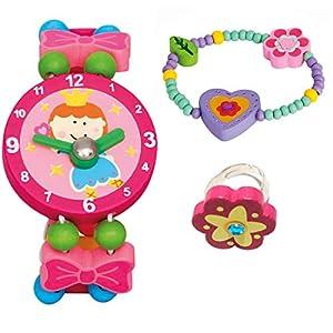 BINO 3 TLG. Set Holzschmuck Mädchenschmuck Kinderschmuck Motiv Herz Lila – Armband Armbanduhr Ring