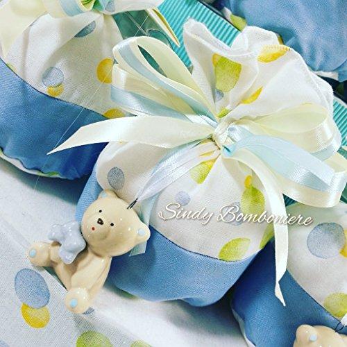Idea torta bomboniera battesimo nascita 1° compleanno sacchetti pois orsetto ceramica bimbo (sacchettino singolo aggiunto fuori struttura)