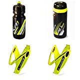 Raceone.it - Kit Race Trio X5 Gel (4 PCS): 2 Porta Bidon X5 + Bidon de Ciclismo XR1 + Toolbox PR1 Bici Carrera de Ruta/Bicicleta de Montaña MTB/Gravel Bike. Color: Amarilo/Negro 100% Made IN Italy