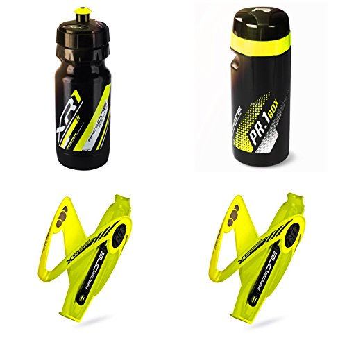 Raceone.it - KIT X5 Race Trio: Borraccia XR1 + 2 Portaborraccia X5 Gel + ToolBox PR1 ideale per Bici Race / MTB / Gravel / Trekking Bike. Colore: Giallo / Nero 100% MADE IN ITALY (RO_KIT_3_X5_YFL_BY