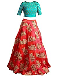 Yovi Empire Girl's Taffeta Silk Semi-Stitched Partywear Lehenga Choli (Blue_Orangekids_8 To 12 Years Age_Free Size)