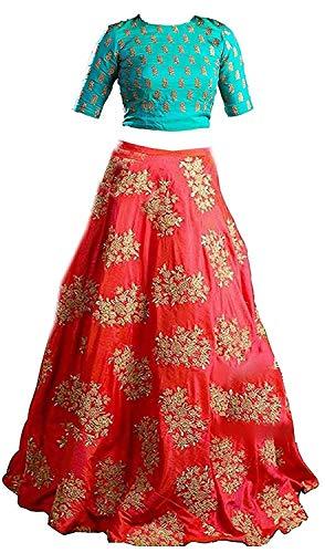 Yovi Empire Girl\'s Taffeta Silk Semi-Stitched Partywear Lehenga Choli (Blue_Orangekids_8 To 12 Years Age_Free Size)