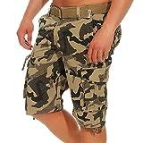 Ausnahme-Zustand Azuonda Herren Cargo Shorts Kurze Hose Bermuda Short Sommer Cargoshort Cargohose mit Gürtel AZ56, Hosengröße:W32, Farbe:Camouflage Beige