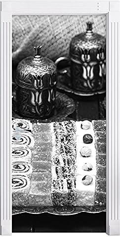 desserts traditionnels turcs Art B & Wcomme Mural, Format: 200x90cm, cadre de porte, porte autocollants, décoration de porte, porte autocollants
