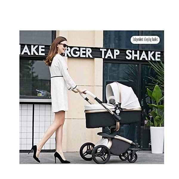 HZC Baby Stroller Bassinet Carriage 3-in-1 Shock-Resistant High Landscape Luxury Pram Stroller for Newborn and Toddler (Color : A) HZC ✔ Completely designed with Safety standard, 100% PU leather material of Egg Seat and Bassinet, this perfect match feel more luxurious and fashionable and easy to clean ✔ In the sleeping basket mode, the 360-degree rotation function allows the cart seconds to change the cradle, sitting and lying double mode, switching in any way ✔ DOCTOR recommends: Newborns are not fully developed due to bone development. A sleeping basket stroller is recommended. The baby's skull is not long, the neck and spine are very fragile. In the baby stroller with poor shock resistance, it is easy to cause physical damage to the baby! 7