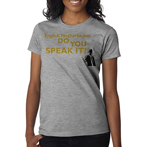 Pulp Fiction Ouentin Tarantino Movie English Speak Yellow Damen T-Shirt Grau