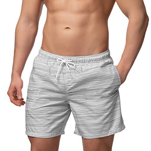 Occulto Herren Männer Badehose in vielen Farben | Badeshort | Bermuda Shorts | Beachshort | Slim Fit | Schwimmhose | Boardshort | Jungen (3XL, Grau)
