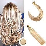 Ugeat 22 Pouces/55cm Flat Tip Cheveux Humains Extensions #27/613 Blonde Caramel avec...