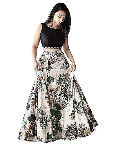 Jil Creation Women\'s Princess Floral Printed Party Wear Long Skirt Gown And Top