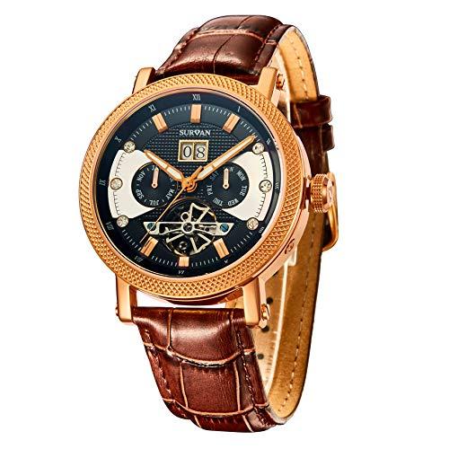 Time100 SURVAN Collection - Orologio da uomo Automatico Meccanico Cinturino in Pelle SO4013G (Oro rosa)