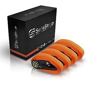 SafeStrap Spanngurte - Enorm robuste Zurrgurte mit TÜV G/S - Nach EN 12195-2 - 4 oder 6m lange Ratschengurte mit 1600kg Kapazität [4 Stück]