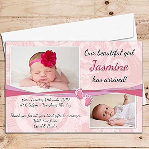 10 Personalised New Baby Girl Birth Announcement Thank You PHOTO Cards N37