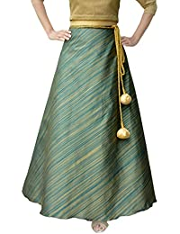 DeeVineeTi Women's Taffeta Silk Striped Wrap-Around Skirt (WA000116, Green, FreeSize)